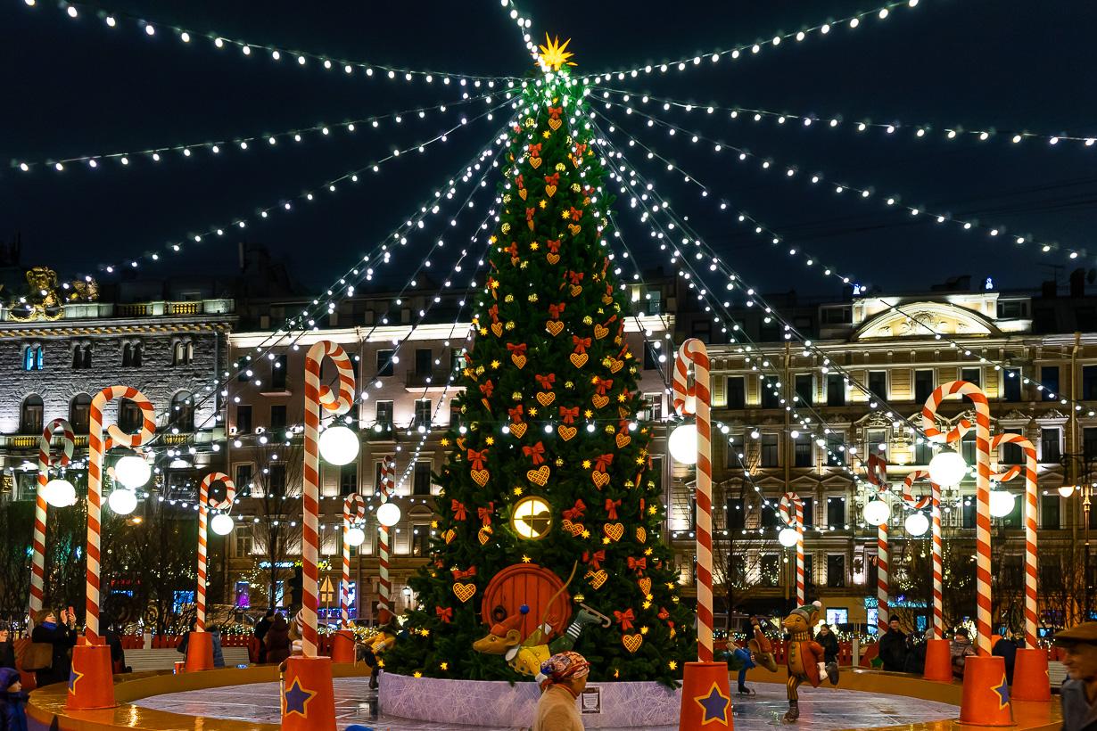 Pietarin joulumarkkinoiden joulukuusi Maneesinaukiolla