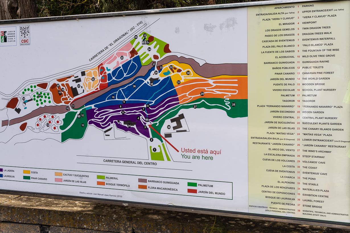 Kasvitieteellinen puutarha Viera y Clavijo, Gran Canaria, kartta