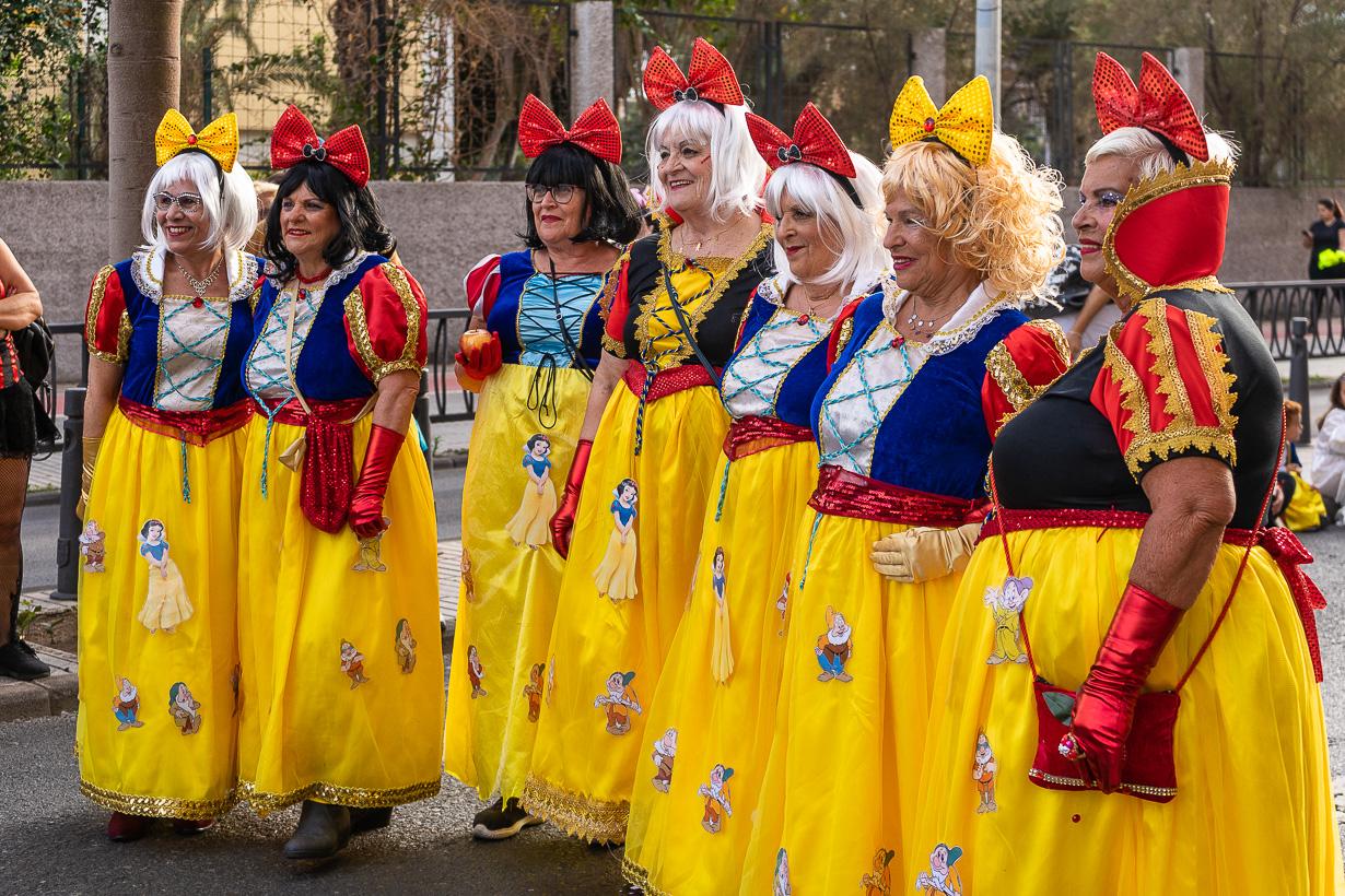 Las Palmasin karnevaalien 2020 suuri kulkue, lumikkiasuiset katsojat