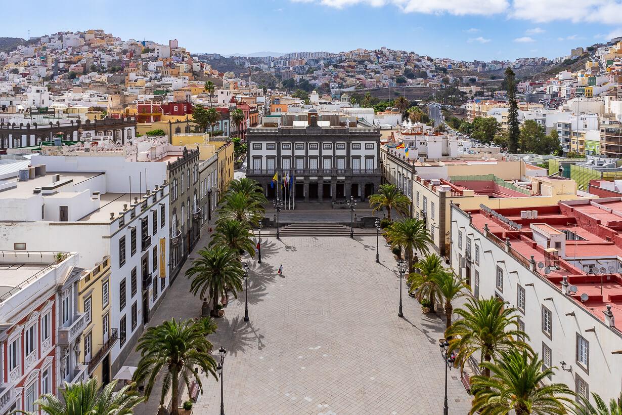 Santa Anan aukio Santa Anan katedraalin tornista katsottuna, Veguetan nähtävyydet, Las Palmas de Gran Canaria