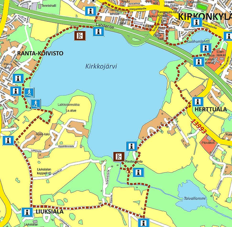 Kirkkojärven luontopolun kartta