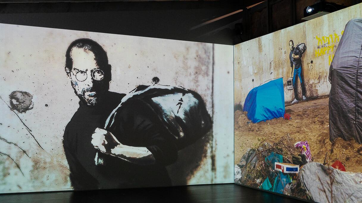 Steve Jobs Banksyn maalauksessa.
