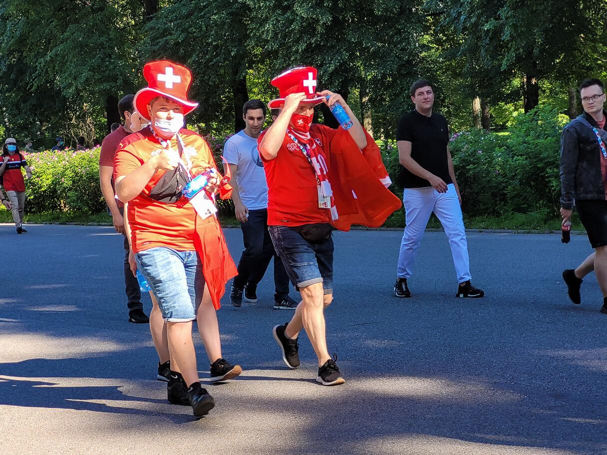 EM-puolivälierä Espanja-Sveitsi Pietarissa, Sveitsin fanit