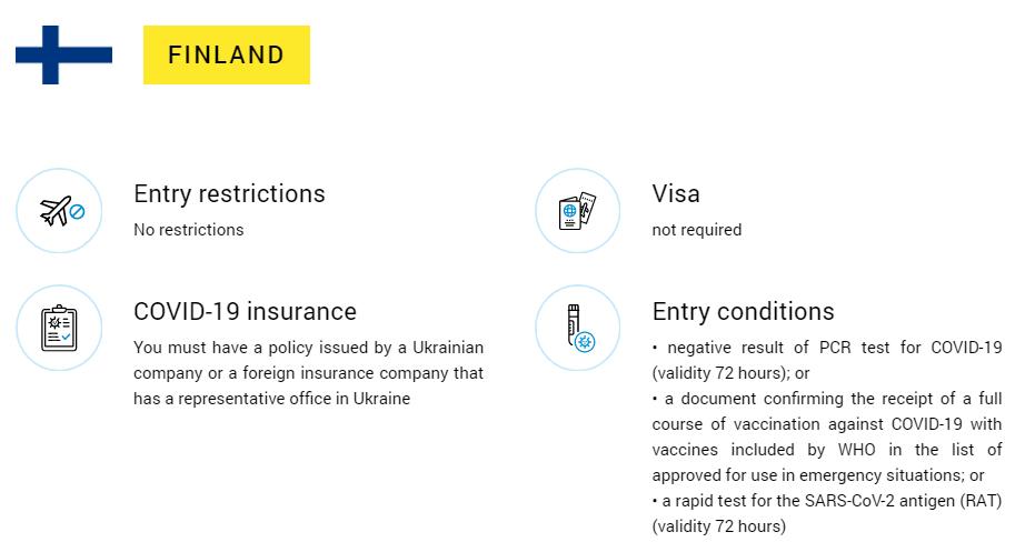 Ukrainan maahantulosäännöt 2021